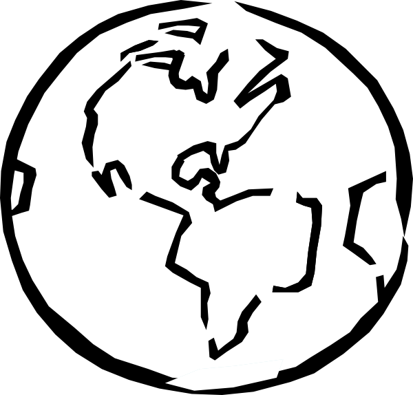 600x574 Free Globe Clipart Black and White Image