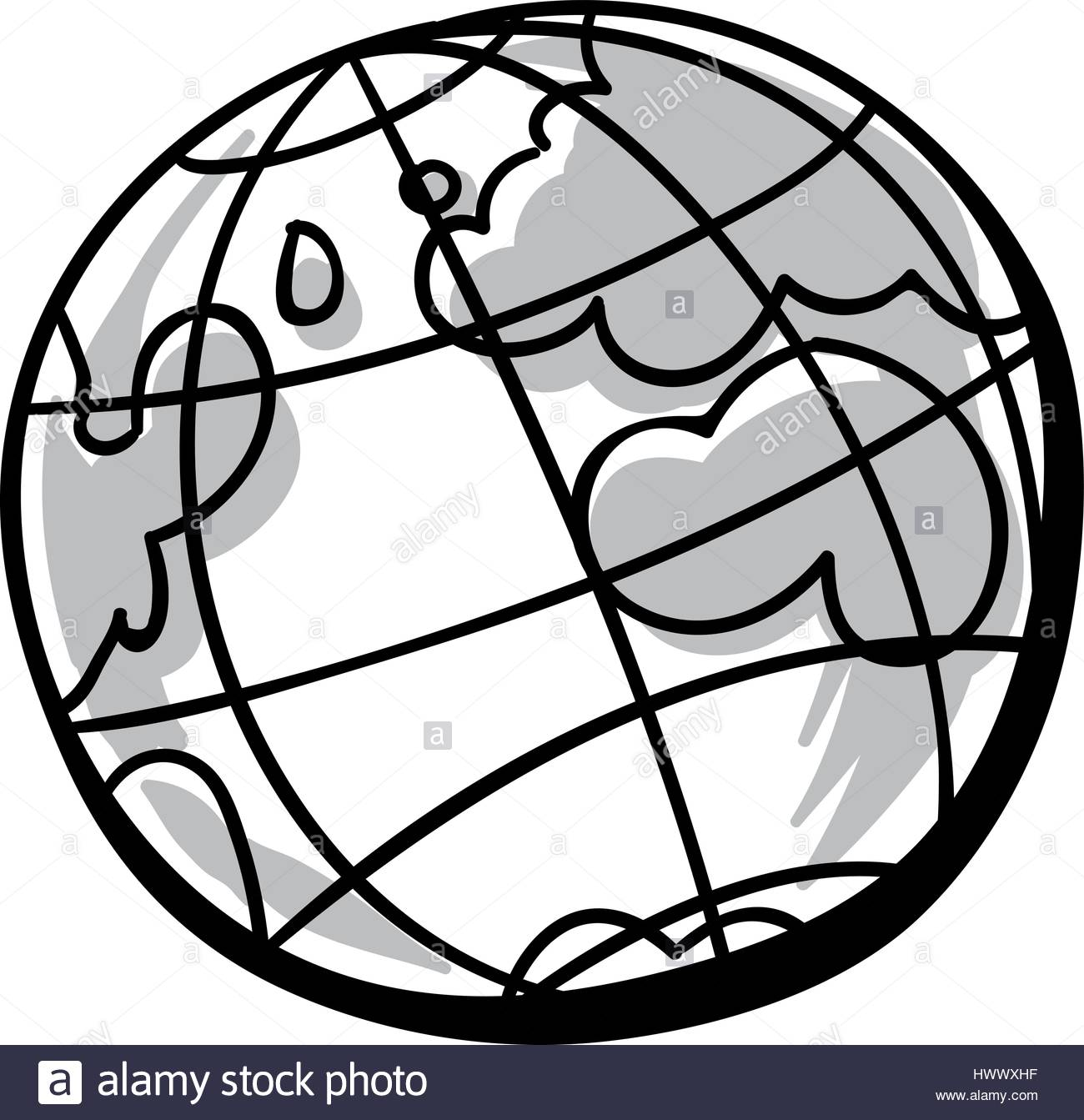 1300x1343 A small, black and white cartoon globe icon Stock Vector Art