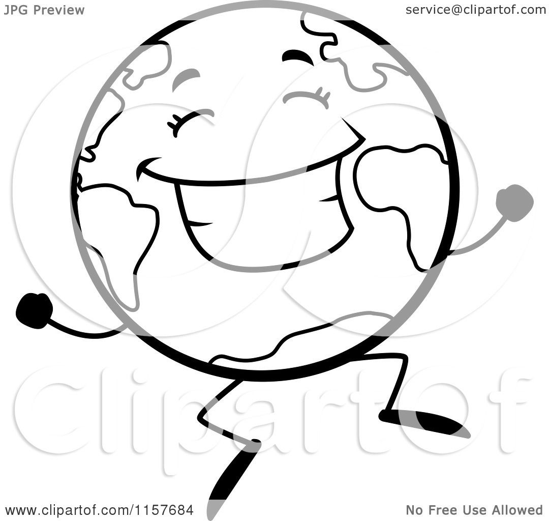 1080x1024 Cartoon Clipart Of A Black And White Happy Globe Character Jumping