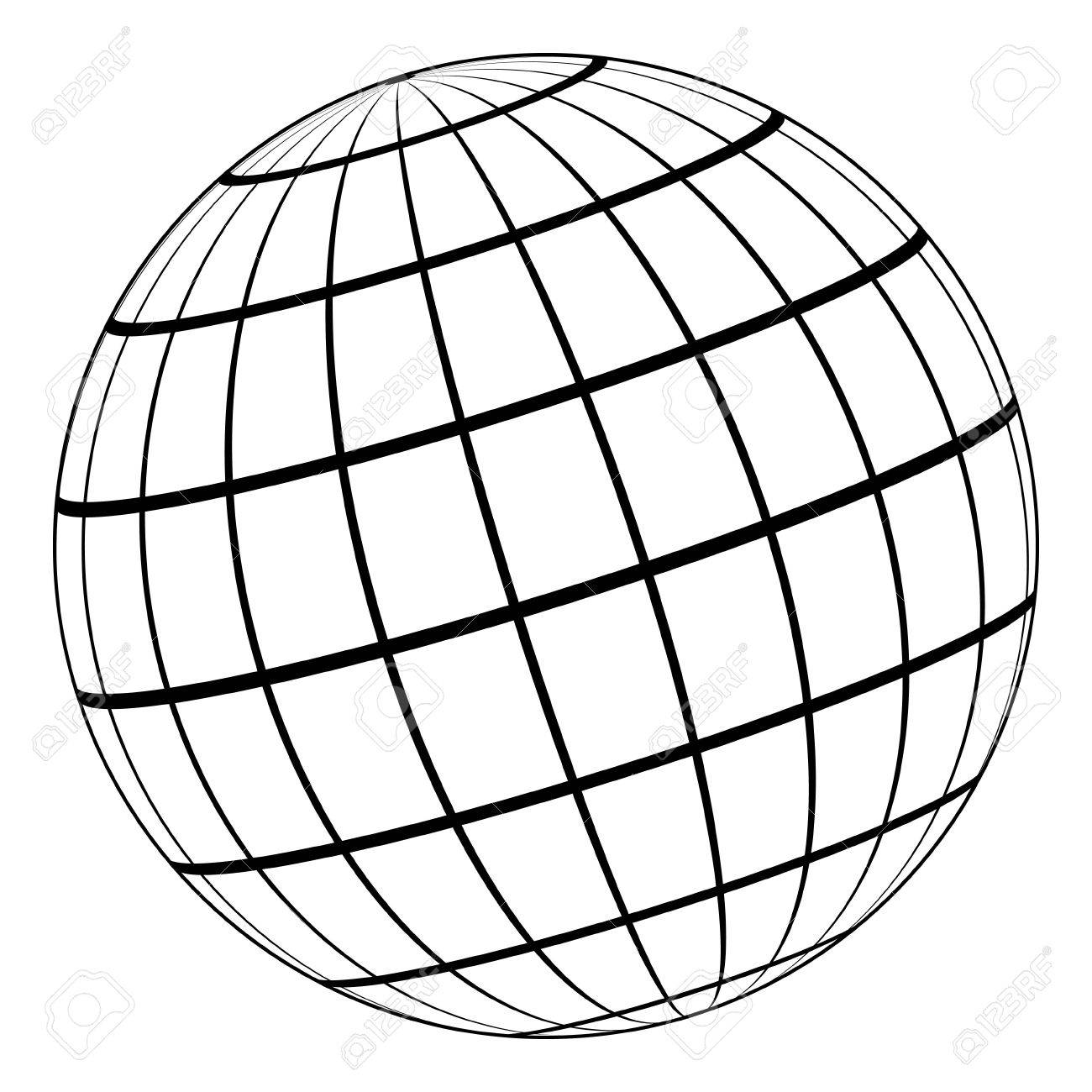 Vector Drawing Lines Worksheet : Black and white globe outline free download best