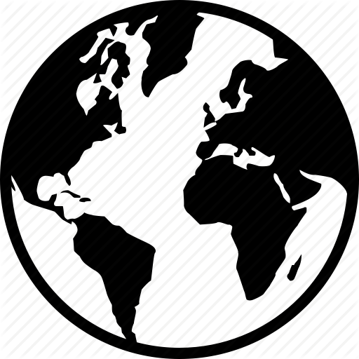 Black And White Globe Outline | Free download best Black And