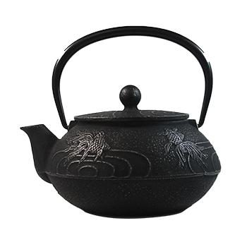 350x350 Black Amp Silver Goldfish Cast Iron Teapot