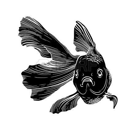 450x422 Goldfish Illustration Artwork Line Underwater Zen Meditation Stock