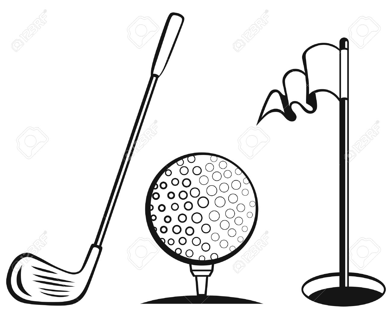 1300x1058 Golf Icon Set Golf Flag, Golf Ball And Golf Stick Royalty Free