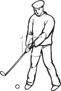 202x300 Black And White Cartoon Of A Golfer Putting A Golf Ball