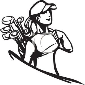 300x300 Black And White Cartoon Of A Woman Carrying Golf Clubs
