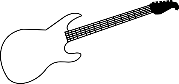 600x284 Guitar Black And White Guitar Stencil Black And White Clipart