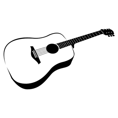 400x400 Hand Traced Black Amp White Guitar, Free Vectors