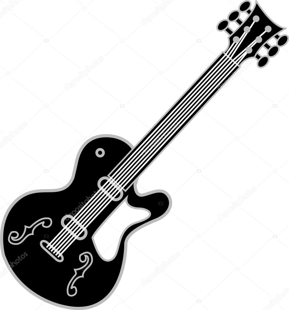 955x1024 Black And White Guitar Over A White Background Stock Vector