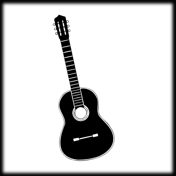 600x600 Guitar Black And White Guitar Clip Art Hostted