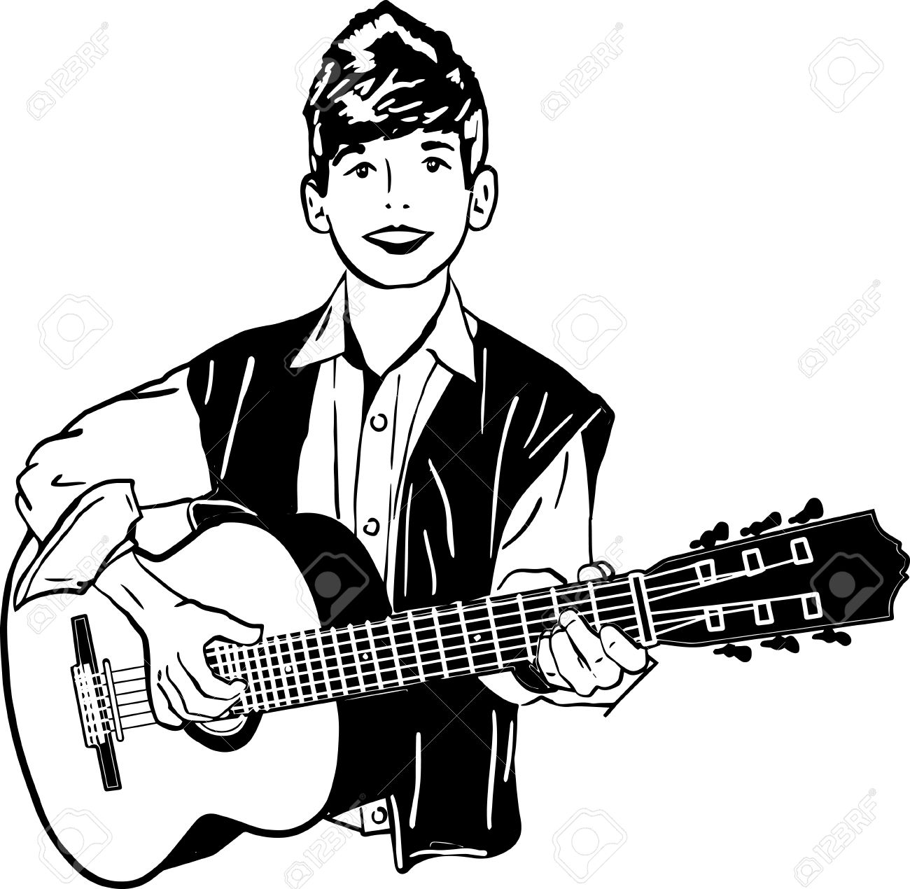 1300x1270 Playing Guitar Clipart Black And White