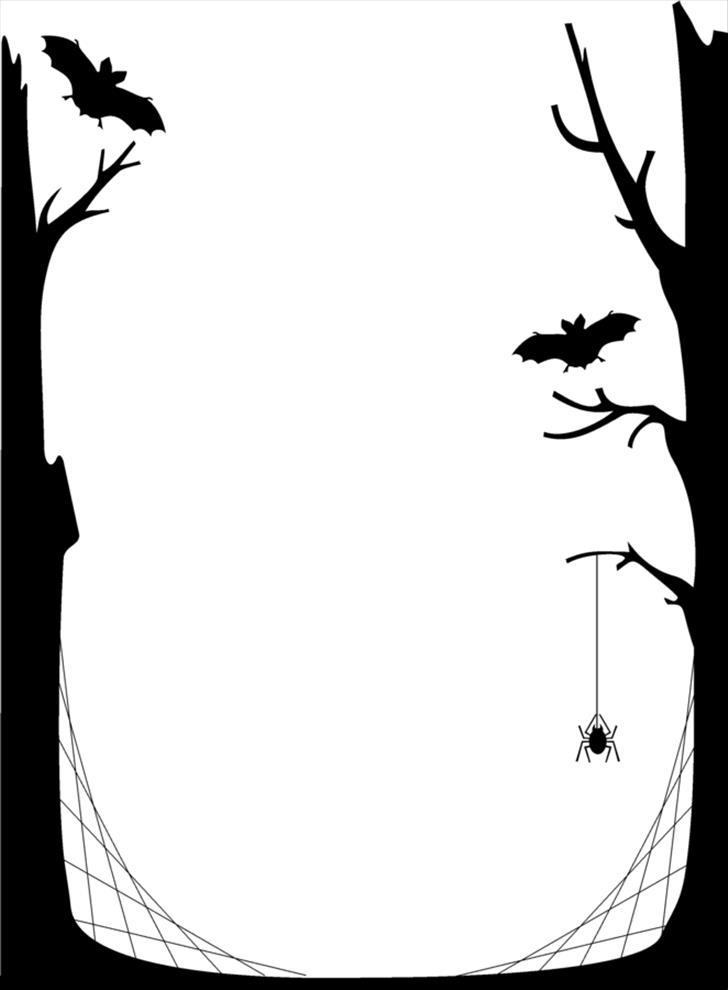 728x990 Halloween Clip Art Black And White Border
