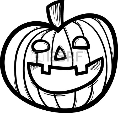 450x429 Black And White Cartoon Illustration Of Spooky Halloween Pumpkin
