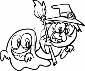 300x252 Black And White Cartoon Of A Two Children Dressed In Halloween