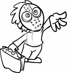 273x300nd White Cartoon Of Child Wearing Halloween Mask, Holding