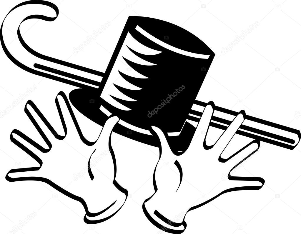 1023x796 Black And White Top Hat Cane And Jazz Hands Stock Vector