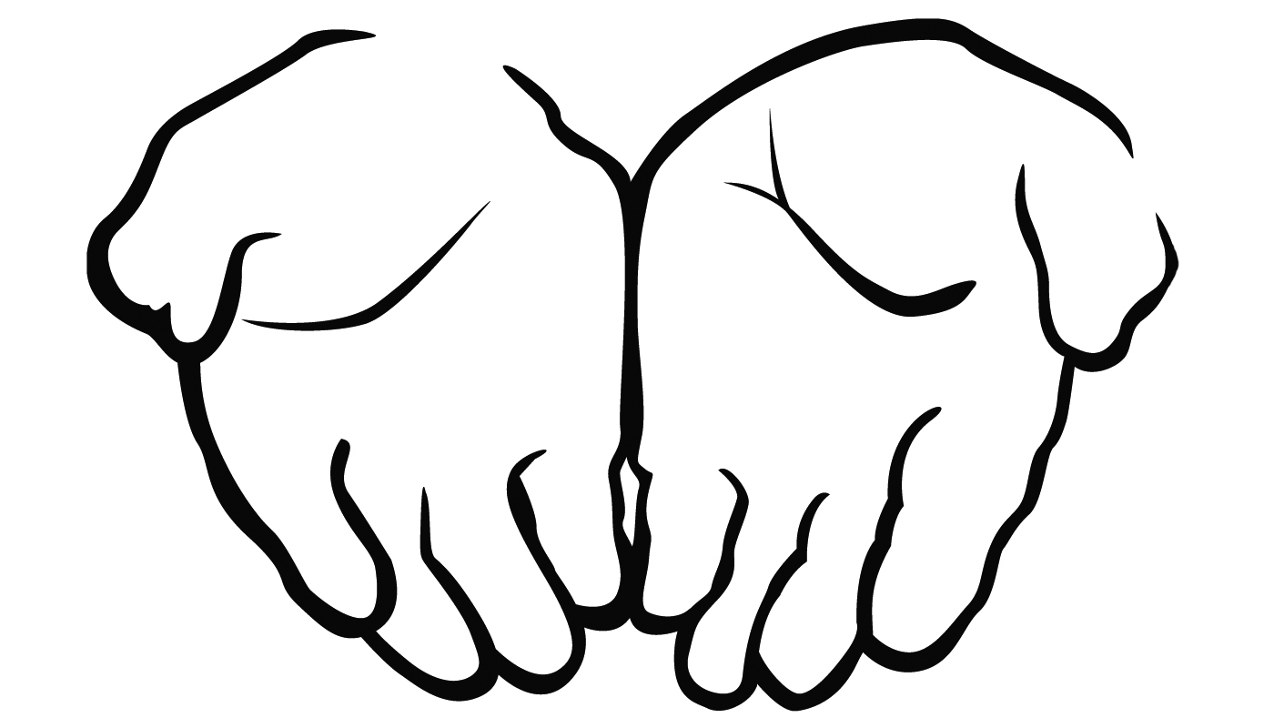 1400x800 Hand Black And White Open Hands Black And White Clipart