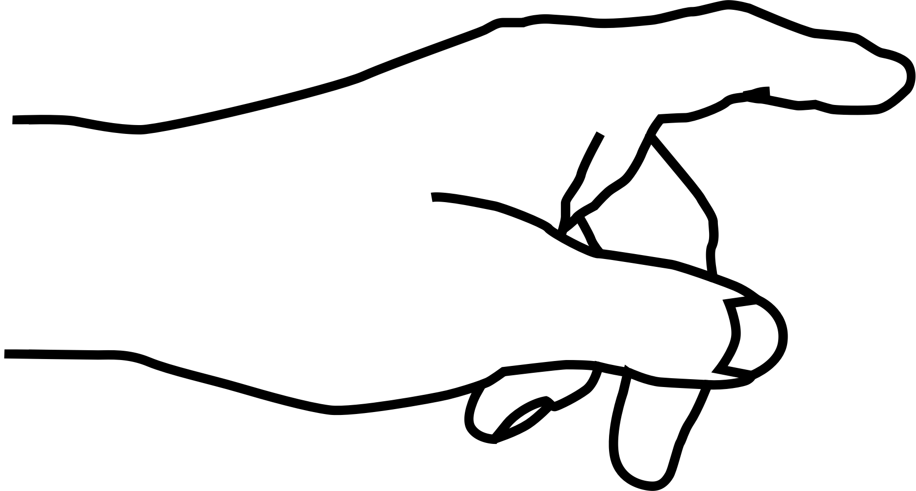 1868x1001 Black And White Hand Pointing Clipart