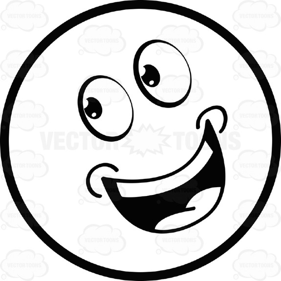 575x575 Smiling Open Mouthed Large Eyed Black And White Smiley Face