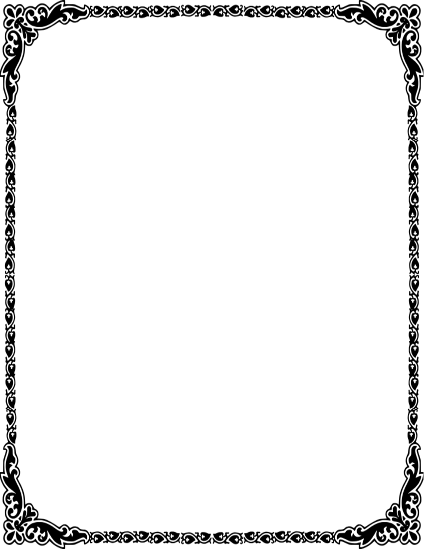 850x1100 Czeshop Images Heart Border Clip Art Black And White