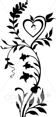 187x388 Black And White Vine With Heart And Blossoms Border Wedding Flourish
