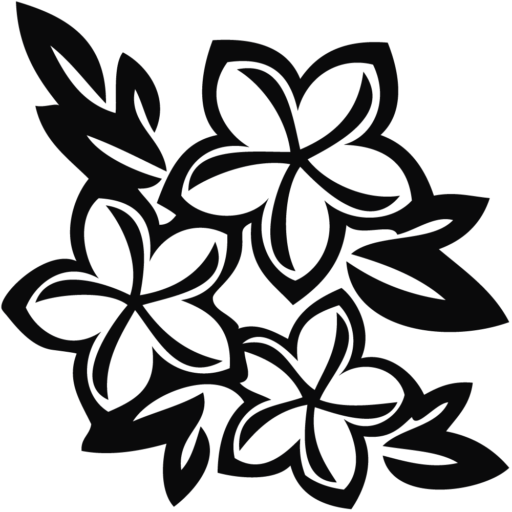 1000x1000 Hawaiian Flower Black And White Clip Art Clipart