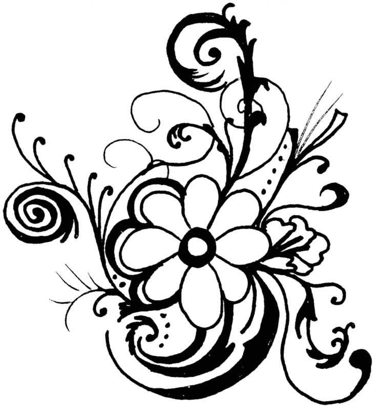 Black And White Hibiscus Clipart