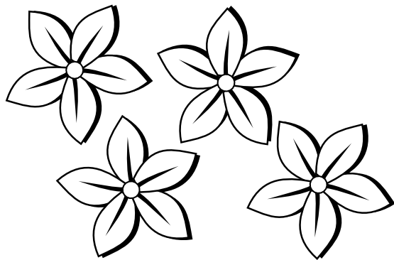555x366 Flowers Clip Art Black And White