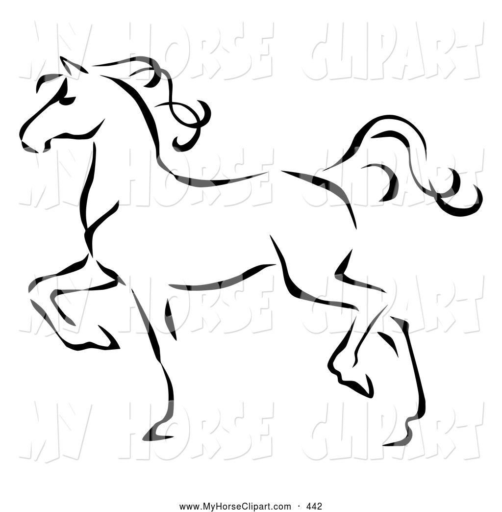 1024x1044 Clip Art Of A Graceful Black Line Art Trotting Horse Profile