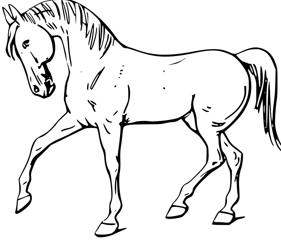 958x820 Free Horse Clipart Black And White Image