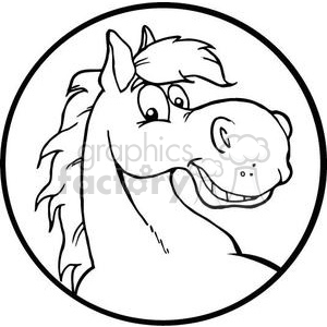 300x300 Royalty Free Black And White Horse Head 380944 Vector Clip Art