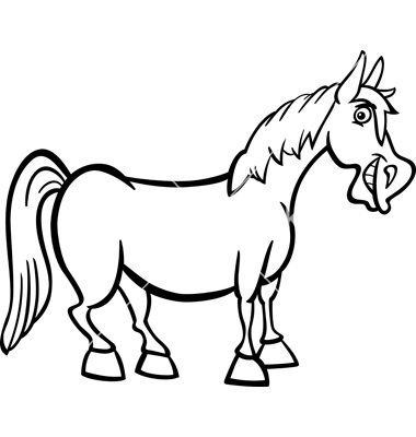 380x400 Cartoon Black And White Horse