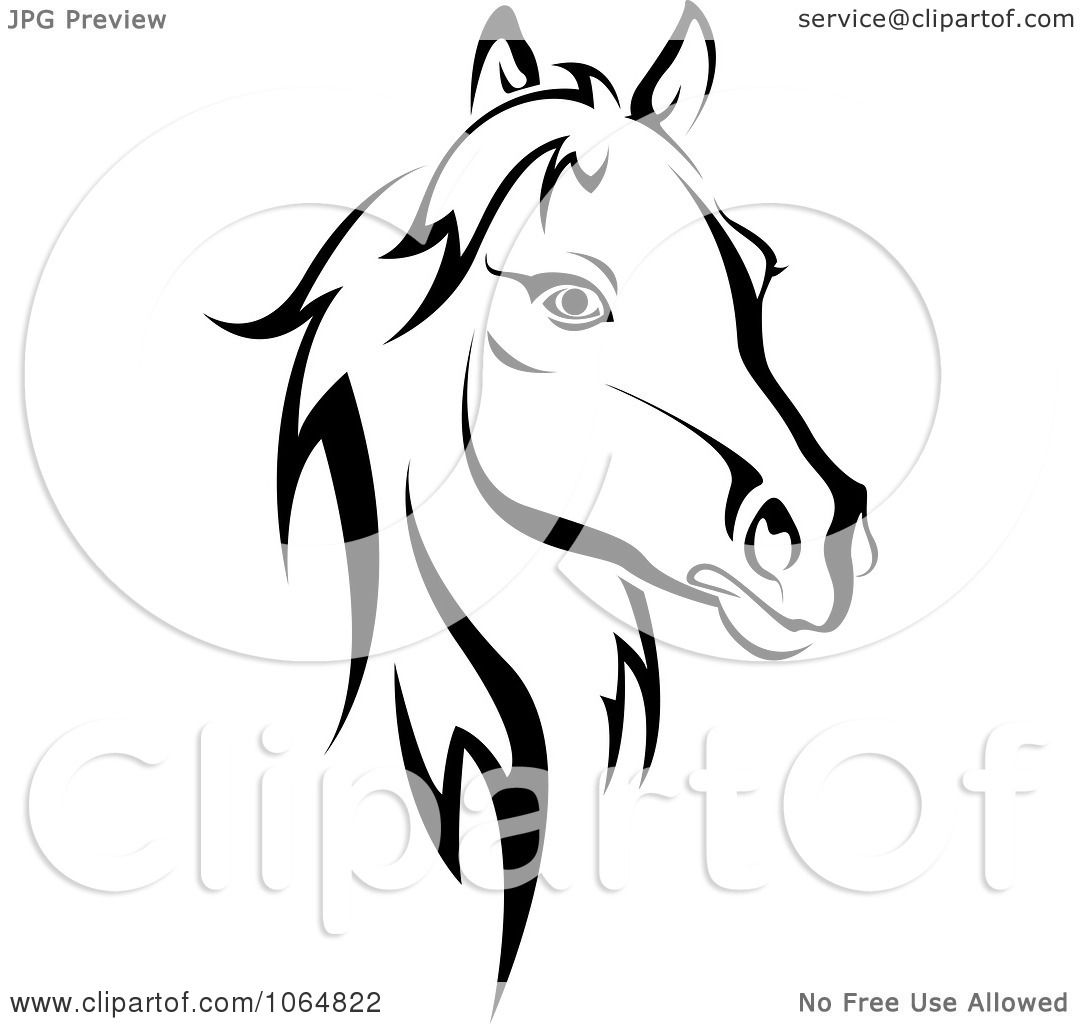 1080x1024 Clipart Horse Head Logo In Black And White 2