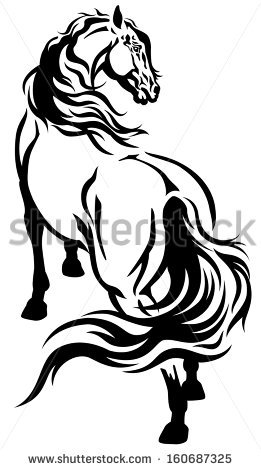 261x470 Horse Tattoo Black And White Illustration