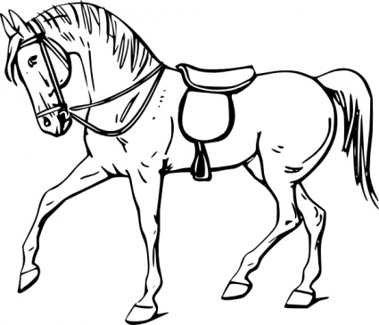 425x365 Walking Horse Outline Clip Art Vector, Free Vector Graphics