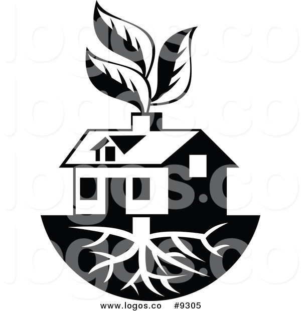 600x620 Royalty Free Clip Art Vector Logo Of A Black And White House