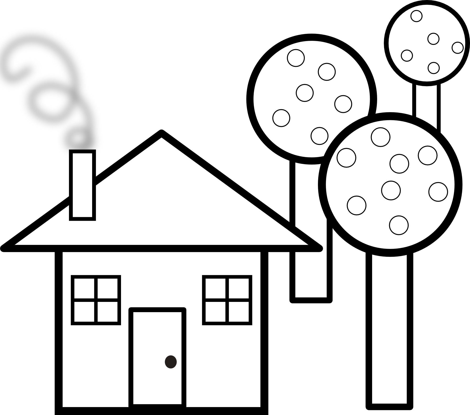 1969x1739 Tree And Black And White House Clipart