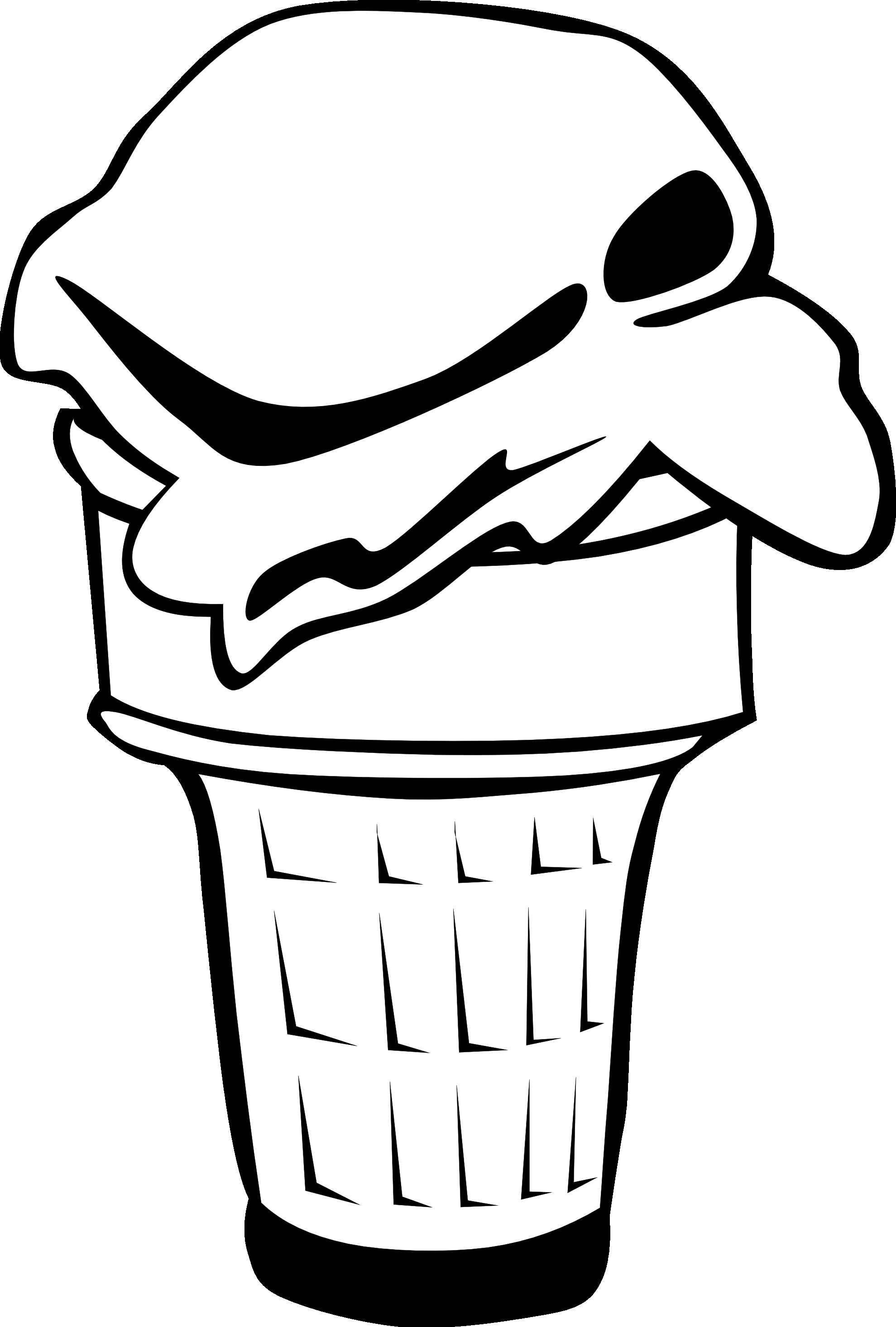 Black And White Ice Cream Cone Clipart