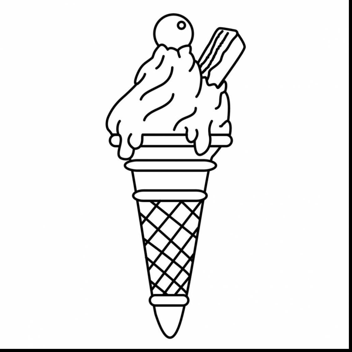1126x1126 Brilliant Ice Cream Cone Clip Art Black And White With Ice Cream