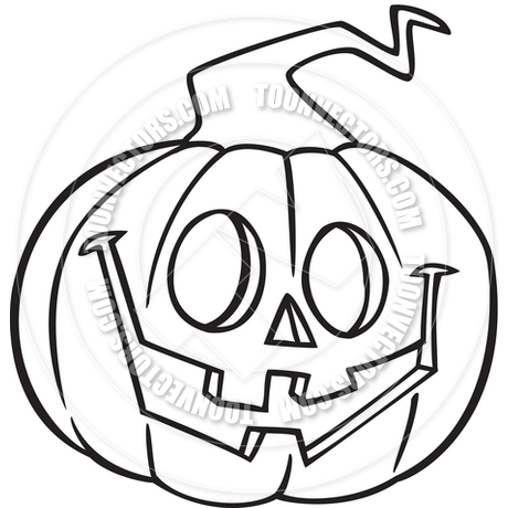 460x460 Cartoon Jack O' Lantern (Black And White Line Art) By Ron Leishman