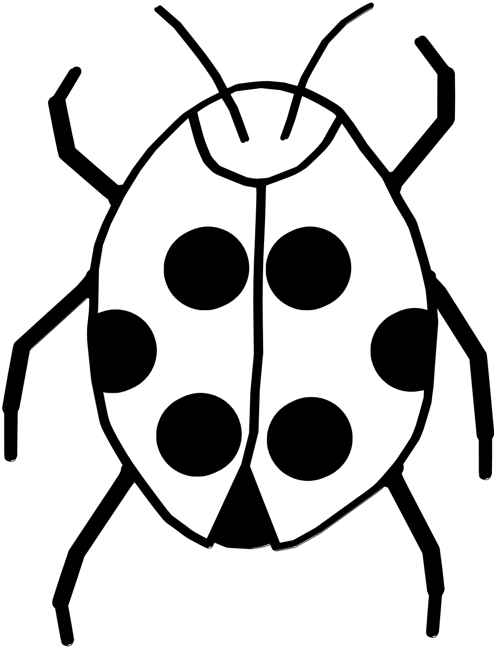 999x1308 Black And White Ladybug Clipart