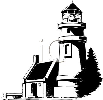 Black And White Lighthouse Clipart