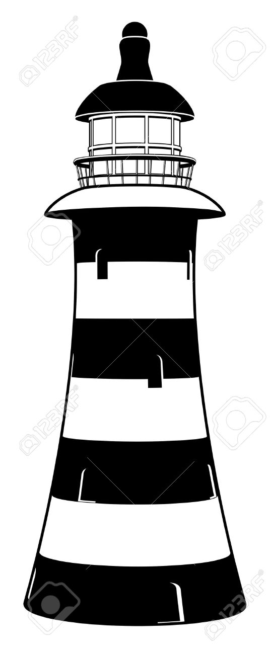 536x1300 Drawn Lighthouse Black And White