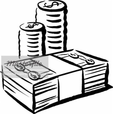 Black And White Money Clipart