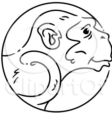 Black And White Monkey Clipart