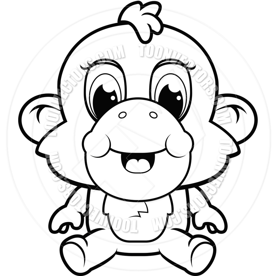 940x940 Baby Monkey (Black And White Line Art) By Cory Thoman Toon