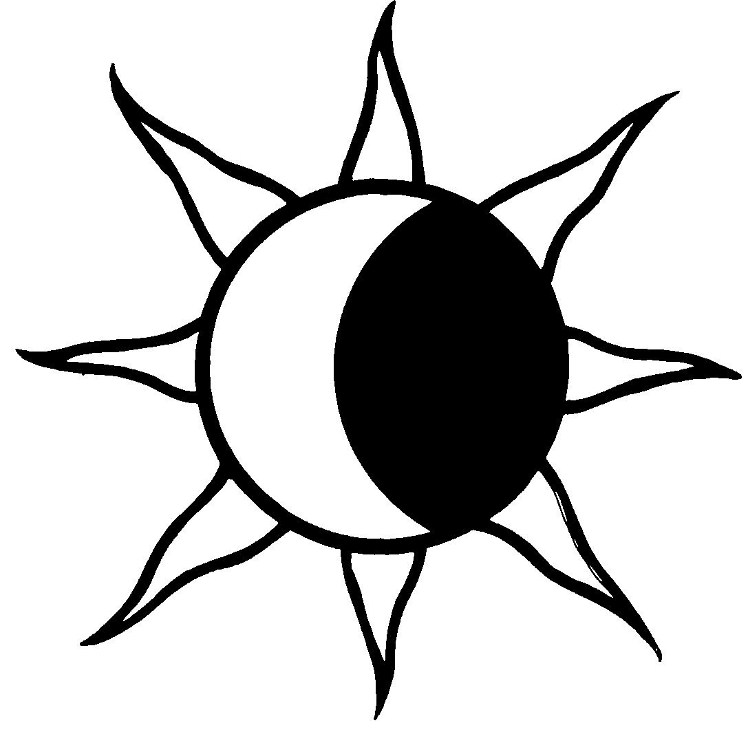 1087x1067 Sun And Moon Clipart Black And White
