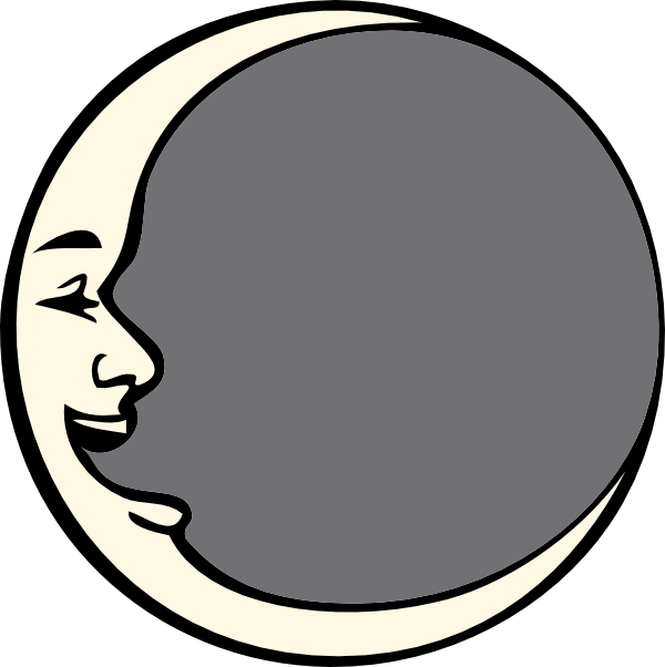 600x602 The Man In Moon Black And White Clipart