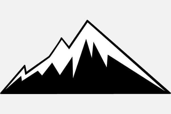Black And White Mountain Clipart