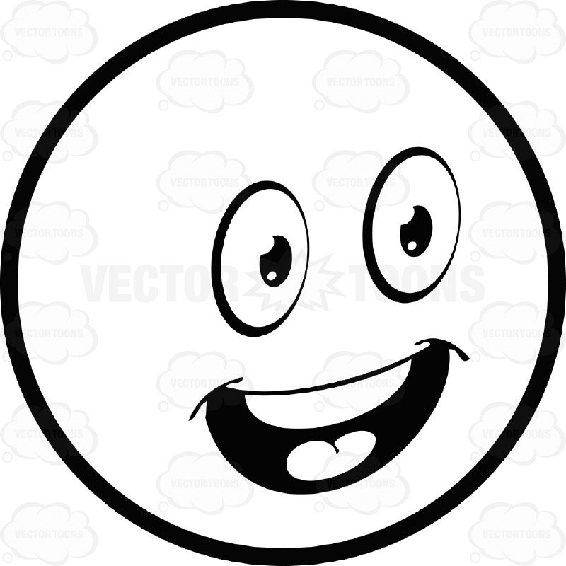 800x800 Upbeat Large Eyed Black And White Smiley Face Emoticon With Open